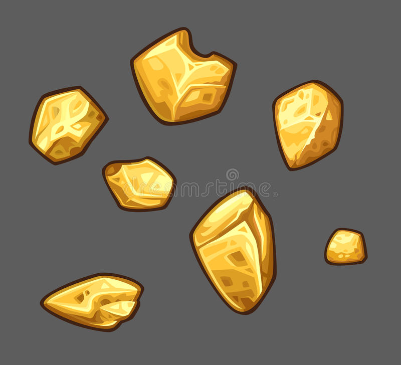 Golden ore set vector illustration