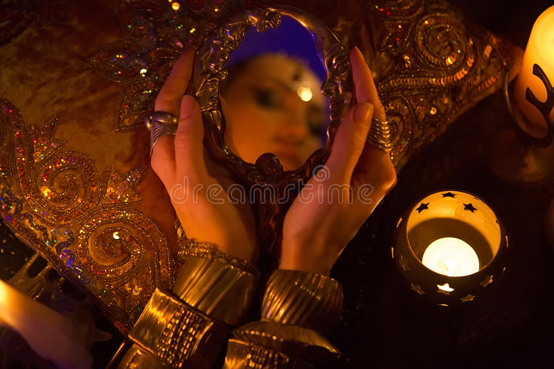 Golden Oriental Jewelry and Accessories: Beauty with Indian Jewe. Golden Oriental Jewelry and Accessories: Female Hands with beautiful Indian Jewellery, Eastern stock image
