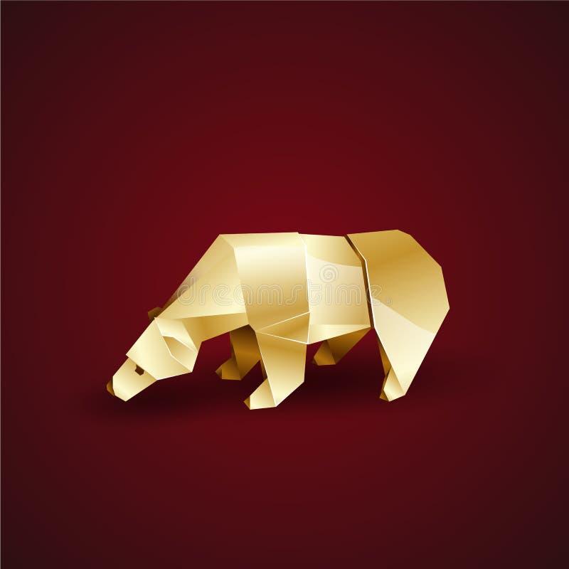 Golden origami polar bear bowed his head stock illustration