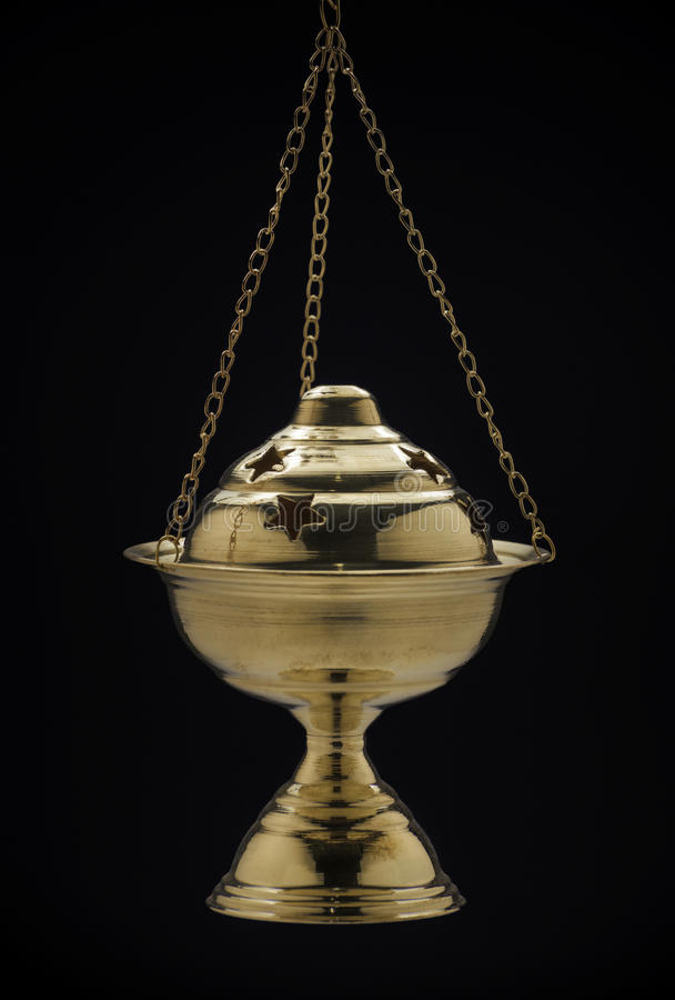 Golden Original Ramadan Censer on Black. Golden Original Ramadan Censer Isolated on Black Background royalty free stock image