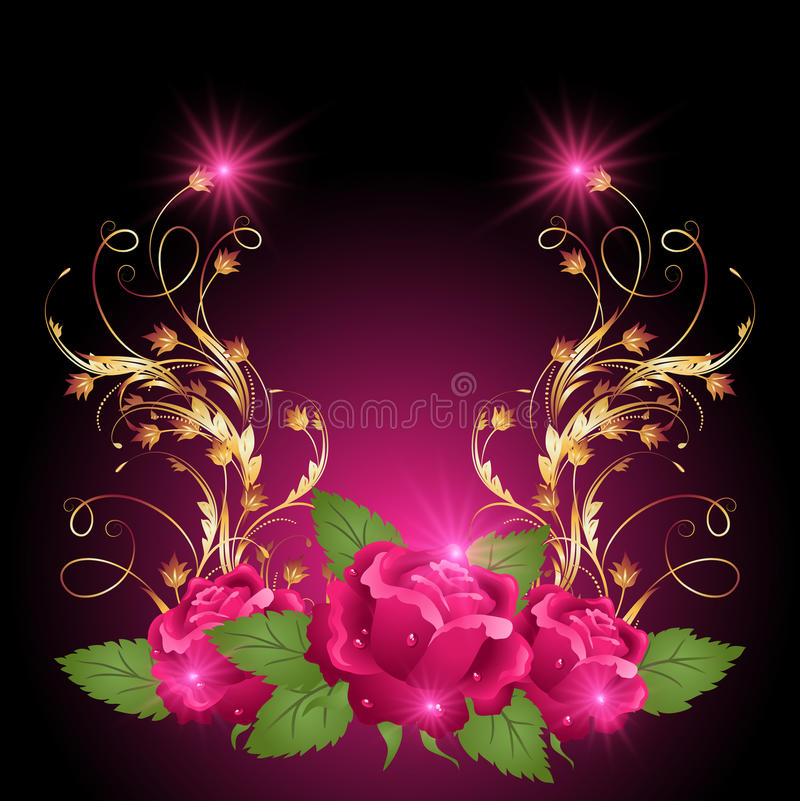 Golden ornament wth rose. Pink rose with golden ornament and glowing stars vector illustration