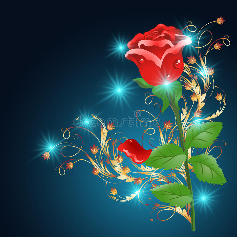 Golden ornament wth rose. Red rose with golden ornament and glowing stars on the blue background vector illustration