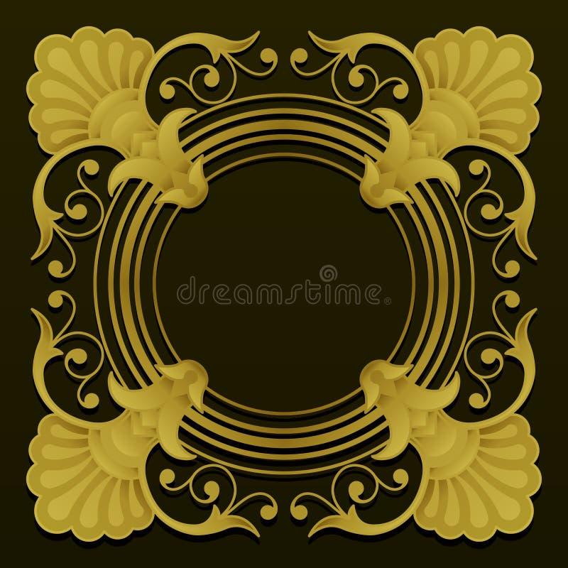 Golden ornamental border on dark background