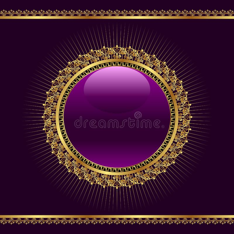 Golden ornamental medallion for design