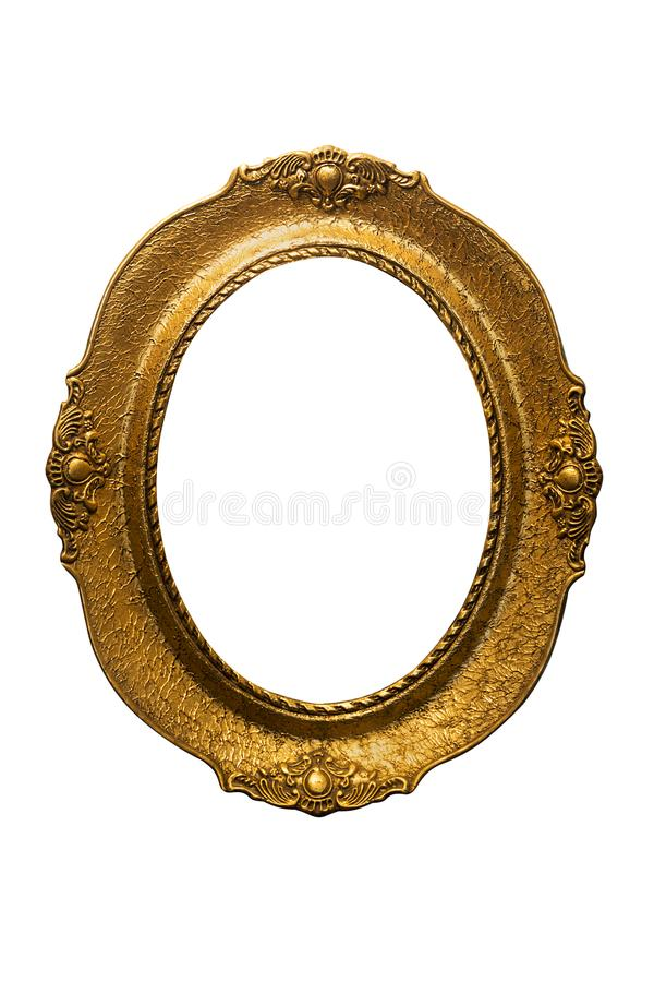 Golden Ornate Picture Frame Isolated On White Background. Antique and Vintage Objects royalty free stock photo