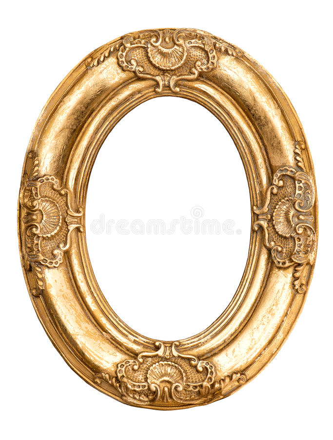 Golden oval frame isolated on white. Baroque style antique object royalty free stock photos