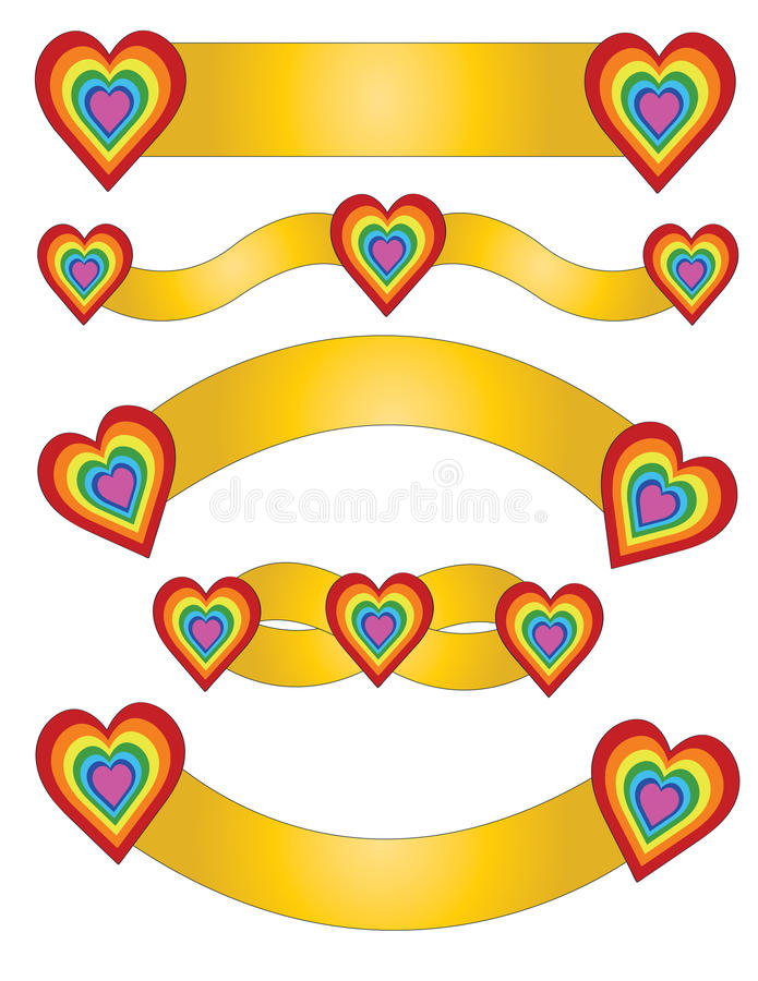Golden Pack Tape with hearts vector illustration