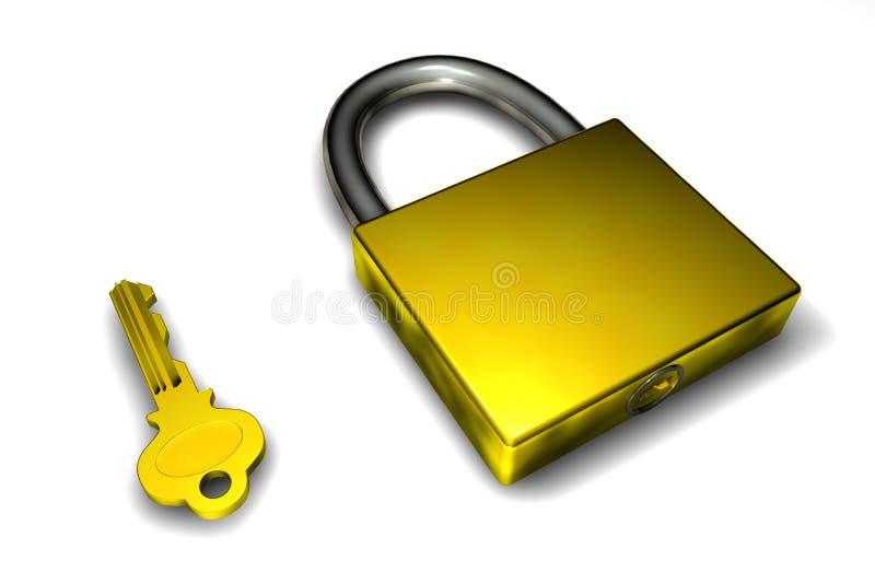 Golden padlock vector illustration