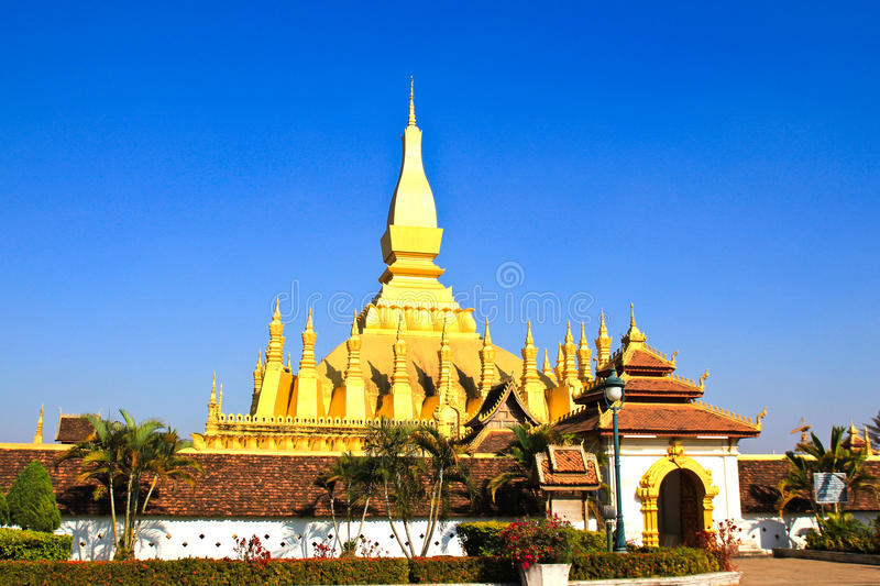 Golden Pagada In Wat Pha That Luang Stock Photography