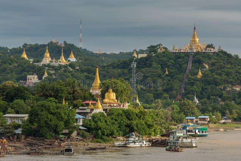 Golden pagoda in sagaing hill, Mandalay. Myanmar stock photos