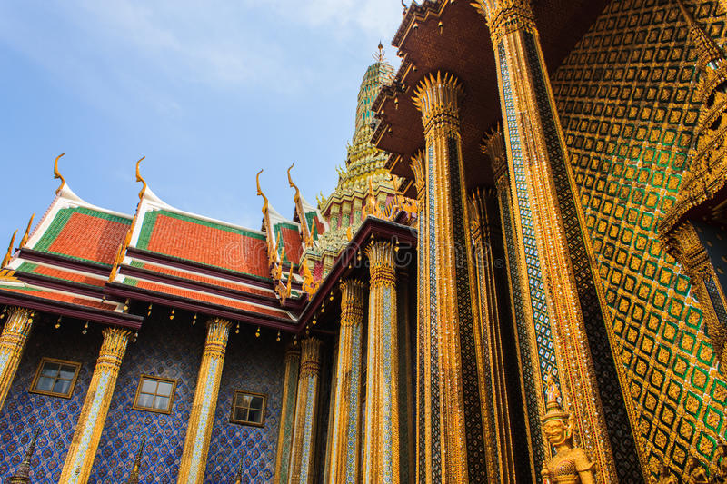 Golden Pagoda Thai Stupa in Grand Palace - at Wat Phra Kaew, Temple of the Emerald Buddha stock photo