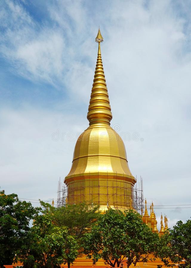 Golden Pagoda in Thailand stock images