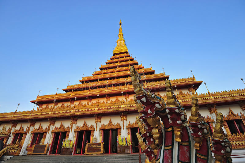Golden Pagoda At Wat Nong Wang Temple, Khonkaen Thailand Royalty Free Stock Images
