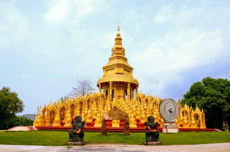 Golden pagoda,Wat Pa Sawang Boon & x28;Phra Maha Chedi 500 yod& x29;,Public Temple,Kaeng Khoi, Saraburi, Thailand stock photo