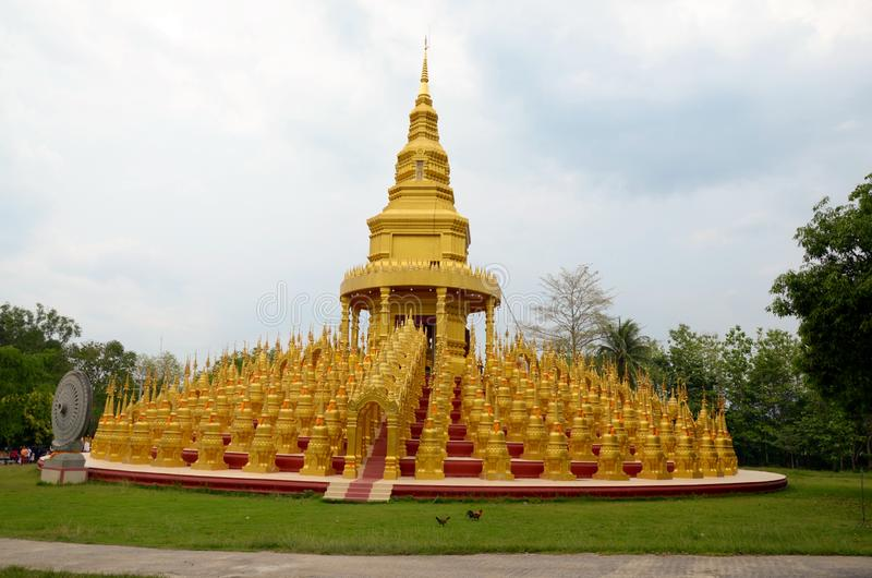 Golden pagoda,Wat Pa Sawang Boon & x28;Phra Maha Chedi 500 yod& x29;,Public Temple,Kaeng Khoi, Saraburi, Thailand royalty free stock images