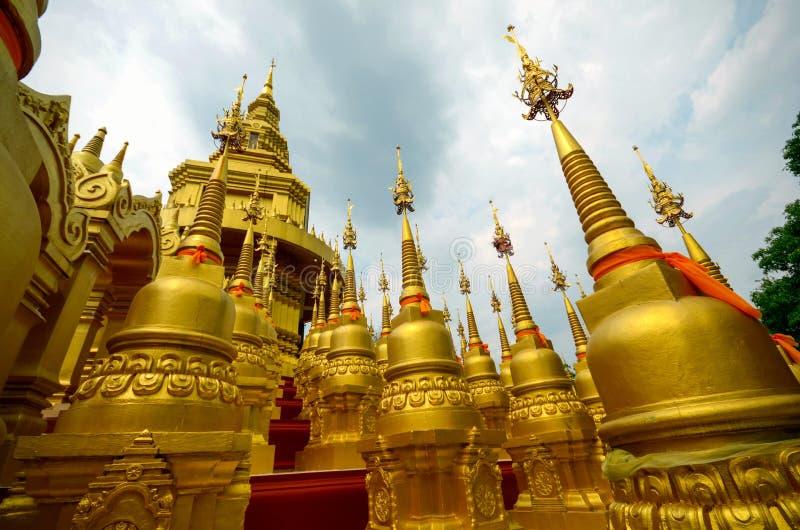 Golden Pagodas in Wat Pa Sawang Boon Saraburi Thailand stock image