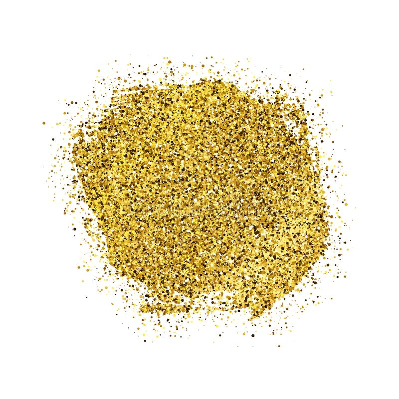 Golden Paint Glittering backdrop. On a white background. Background with gold sparkles and glitter effect. Empty space for your text.  Vector illustration royalty free illustration