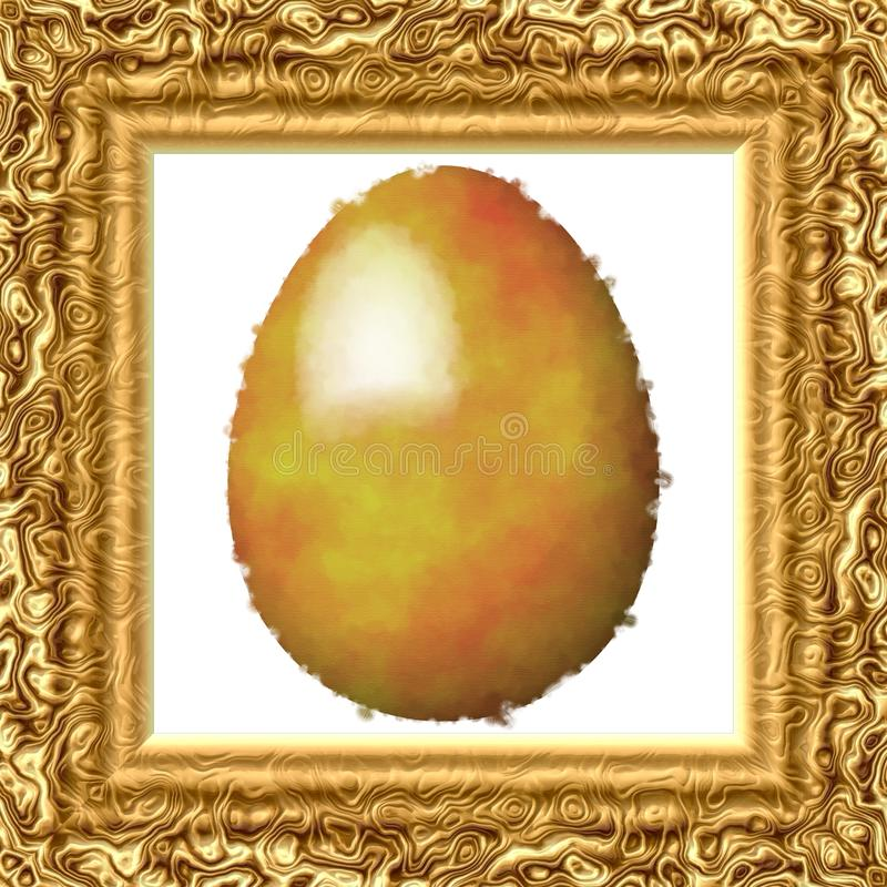 Golden painted egg on cloth in gold engraved frame stock photos