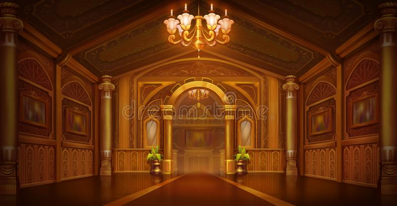 Golden Palace. Golden City. Castle Interior. Fiction Backdrop. royalty free illustration