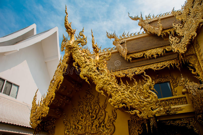 The Golden Palace. Toilet. Chiang Rai, Thailand. Beautiful Wat Rong Khun, aka The White Temple, in Chiang Rai, Thailand. The Golden Palace. Toilet royalty free stock images