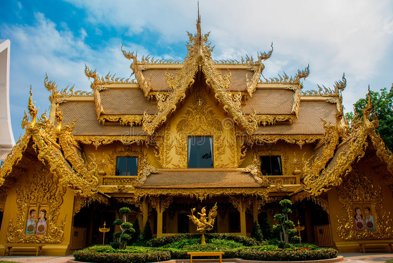 The Golden Palace. Toilet. Chiang Rai, Thailand. Beautiful Wat Rong Khun, aka The White Temple, in Chiang Rai, Thailand. The Golden Palace. Toilet stock photo