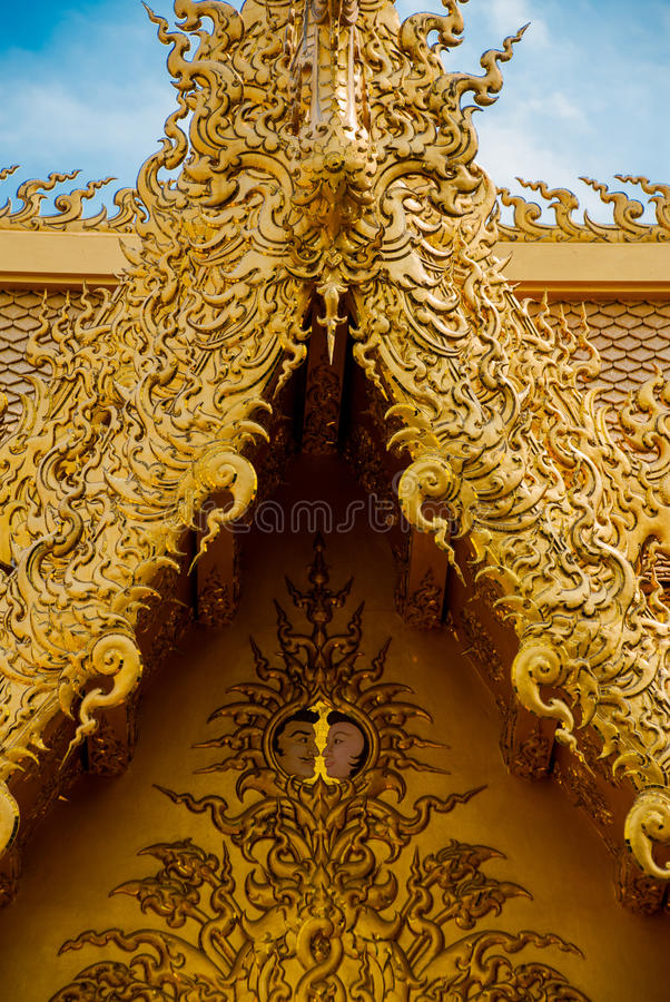 The Golden Palace. Toilet. Chiang Rai, Thailand. Beautiful Wat Rong Khun, aka The White Temple, in Chiang Rai, Thailand. The Golden Palace. Toilet royalty free stock photo