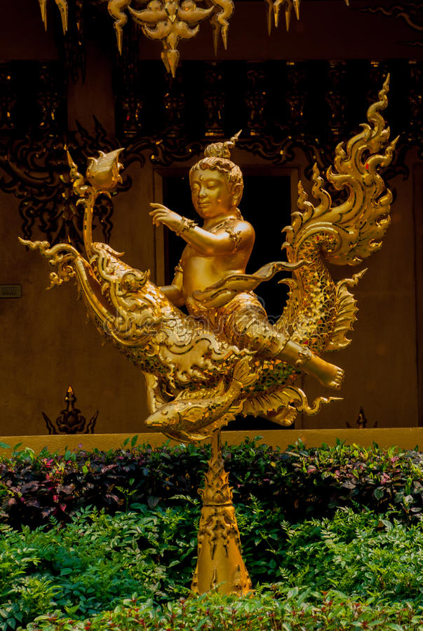 The Golden Palace. Toilet. Chiang Rai, Thailand. Beautiful Wat Rong Khun, aka The White Temple, in Chiang Rai, Thailand. The Golden Palace. The Golden sculpture stock photo