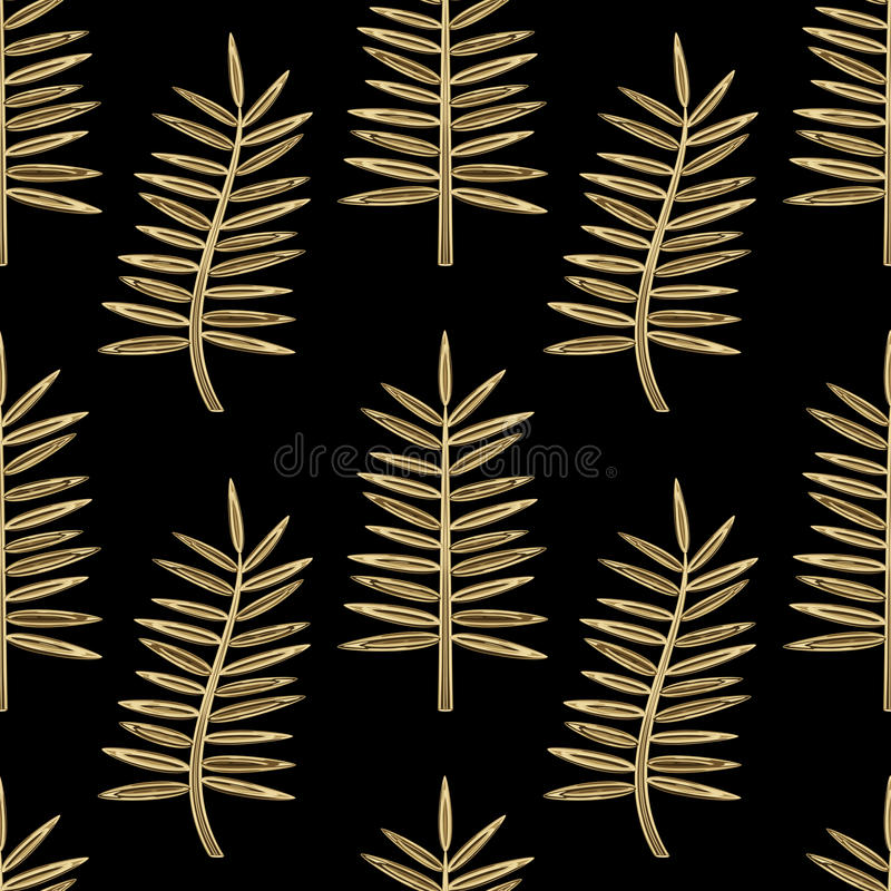 Free Golden Palm Leaves Seamless Pattern Stock Images - 89597404