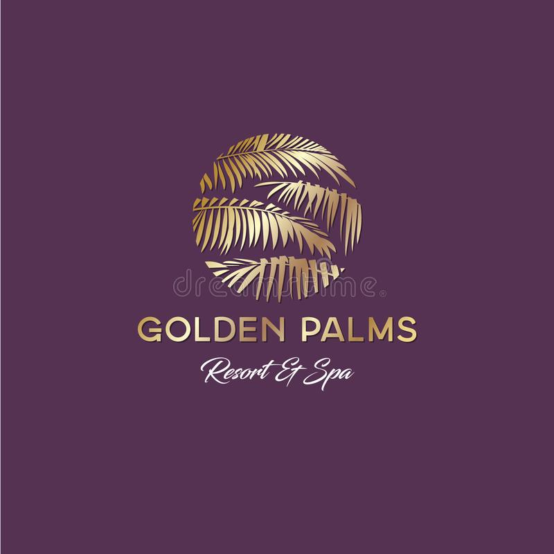 Golden palms logo. Resort and Spa emblem. Tropical cosmetics. Golden Palm leaves in a circle. stock illustration