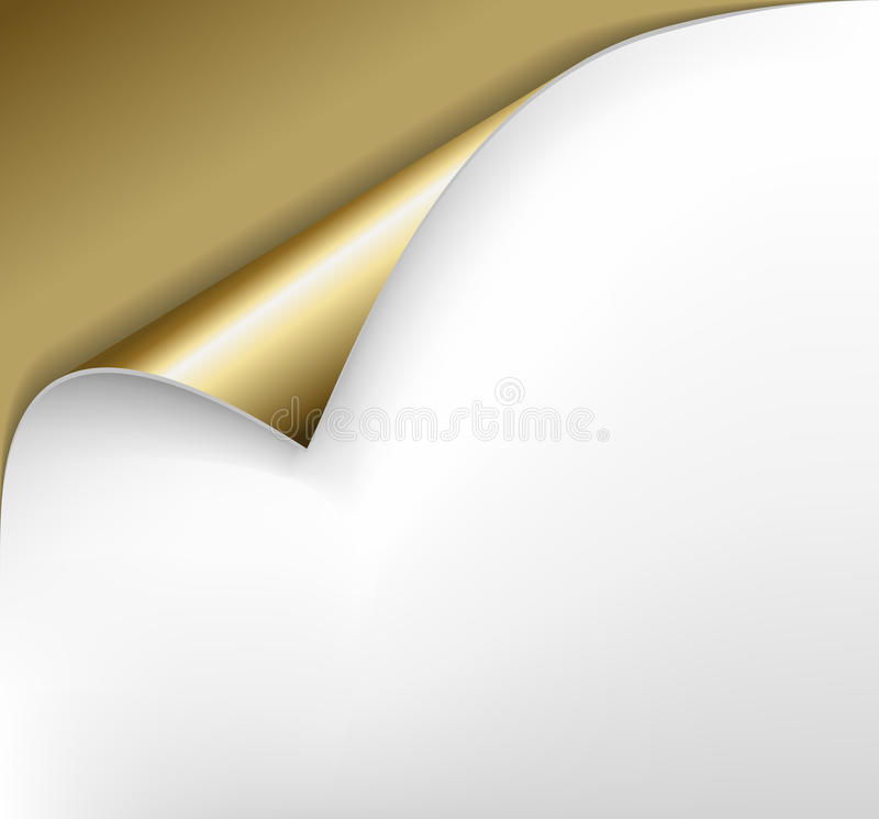 Golden paper with a curl. Sheet of golden paper with a curl stock illustration