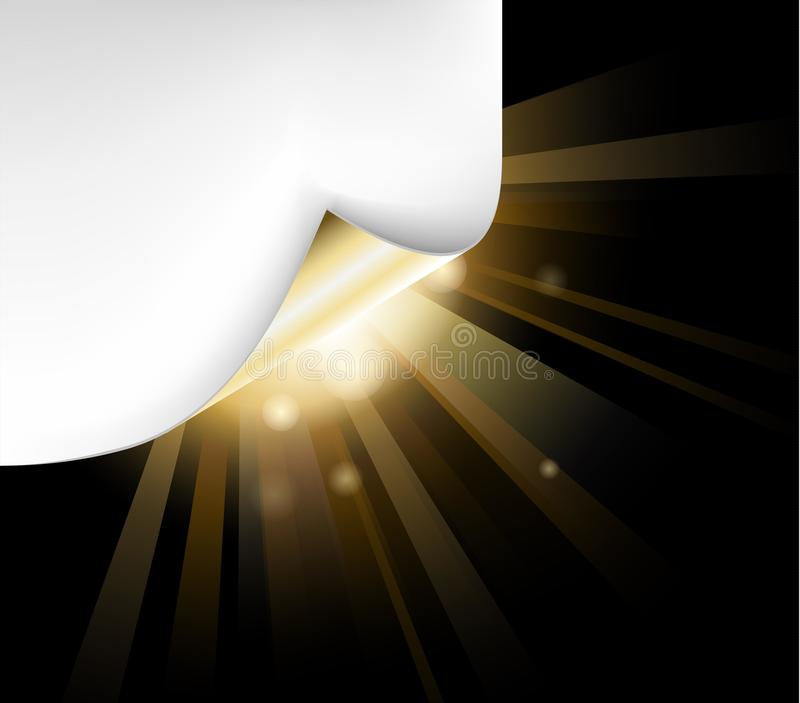 Golden paper with a curl and back light. Sheet of golden paper with a curl and back light vector illustration