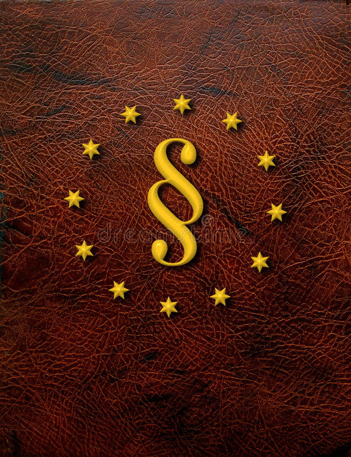 Golden paragraph. Paragraph symbol on leather hard cover surrounded with golden stars stock illustration