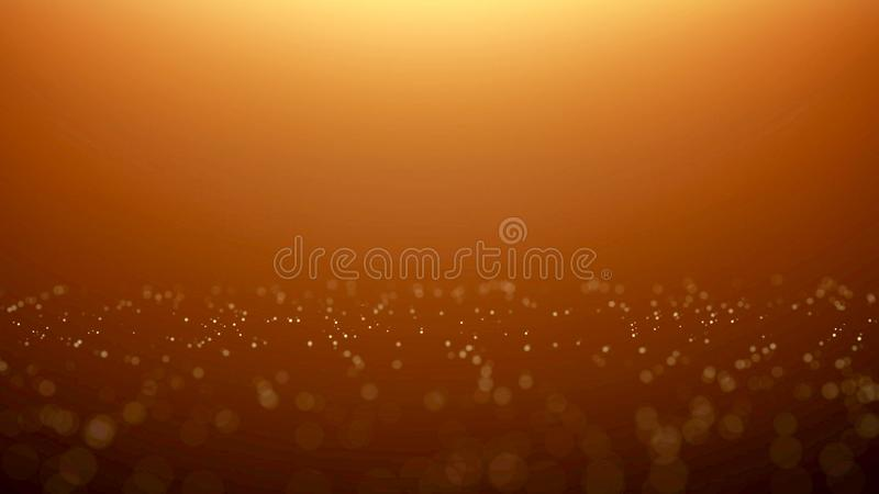 Golden particle bokeh with warm light royalty free illustration