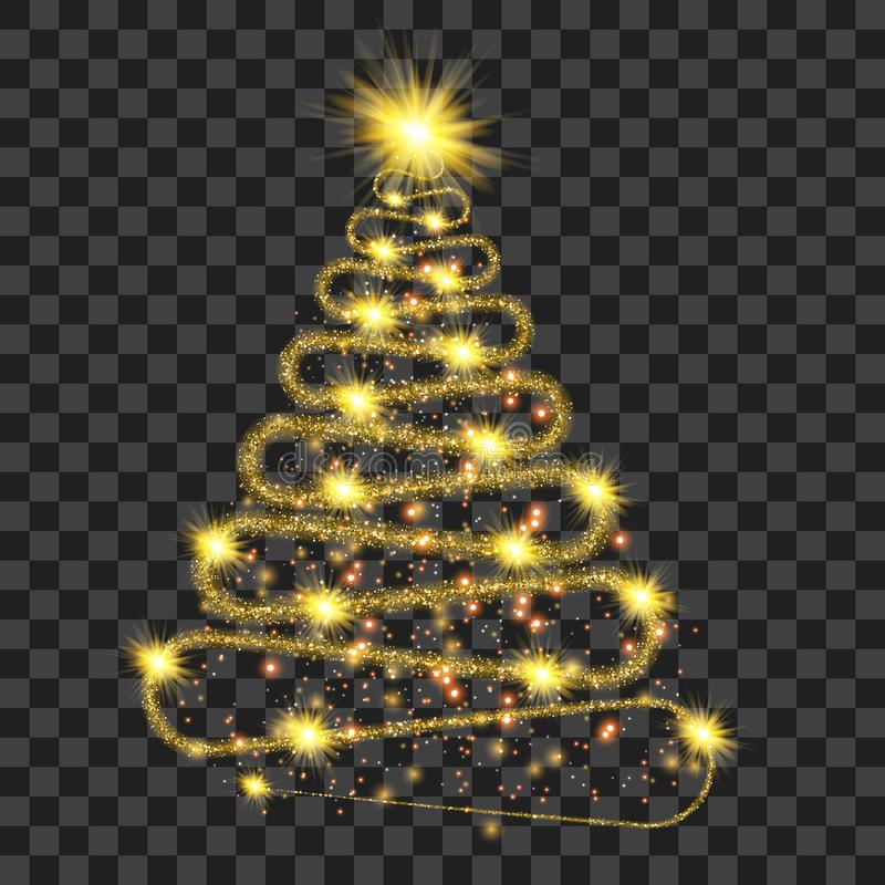 Golden particle wave in form of christmas tree vector illustration