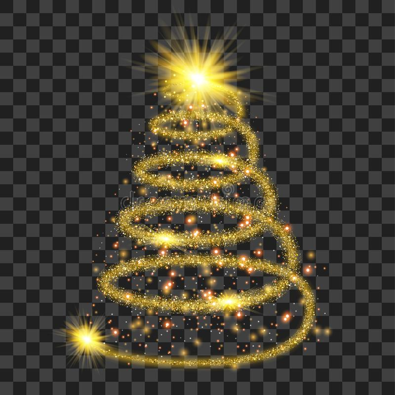 Golden particle wave in form of christmas tree stock illustration