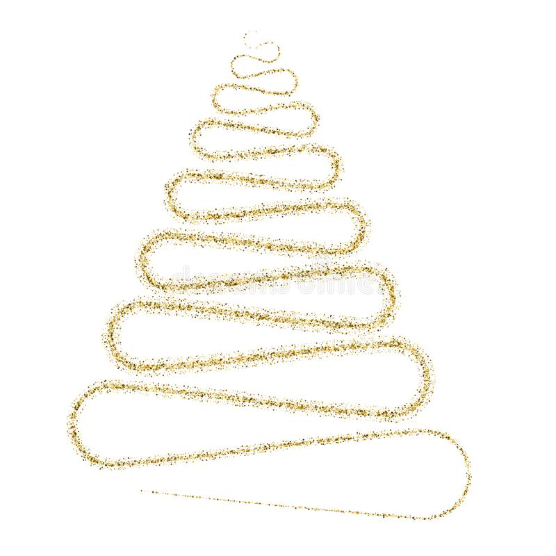 Golden particle wave in form of christmas tree royalty free illustration