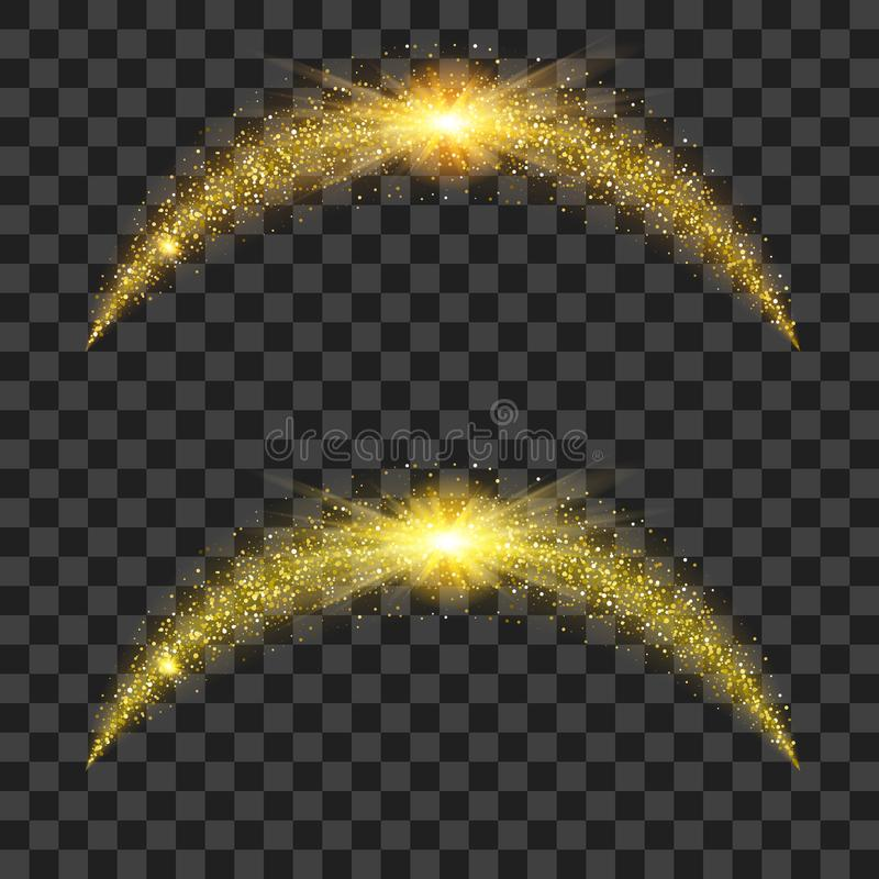 Golden particle waves with bright shining vector illustration