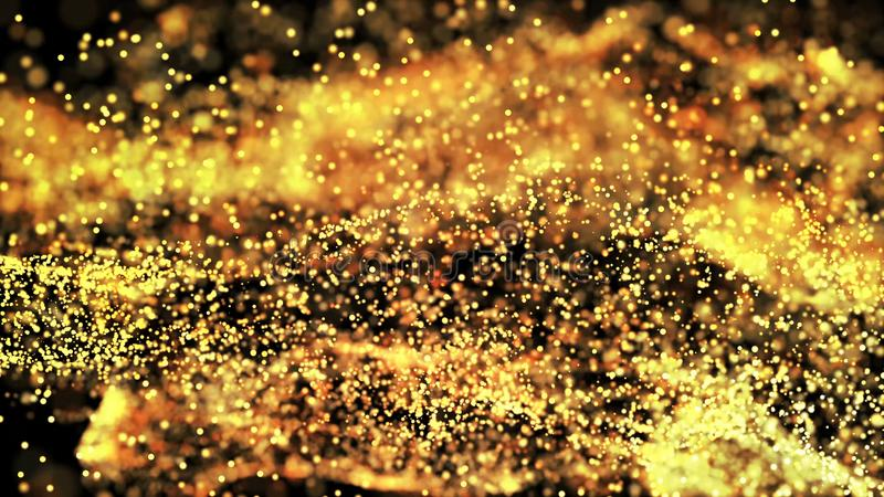 Composition of gold particles with a depth of field 3d render royalty free stock photos