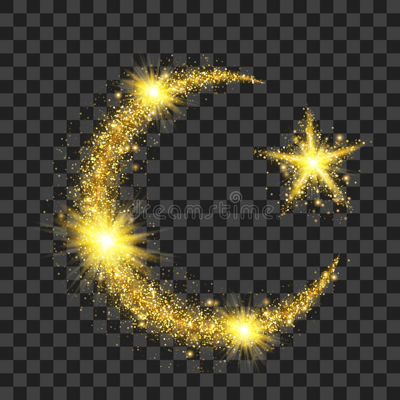 Golden particles wave in form of crescent and star stock illustration
