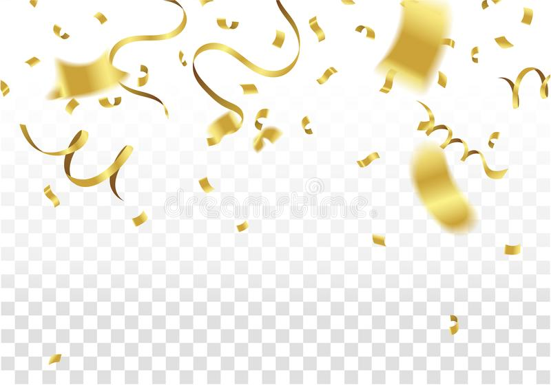 Golden Party Flags With Confetti And Ribbon Falling On White Bac vector illustration