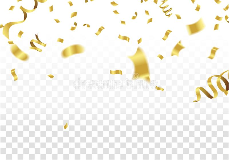 Golden Party Flags With Confetti And Ribbon Falling On White Background. Celebration Event & Birthday. Vector royalty free illustration
