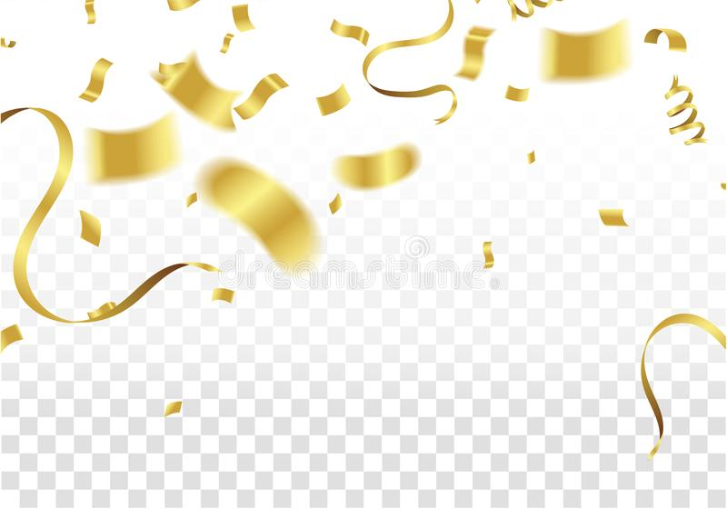 Golden Party Flags With Confetti And Ribbon Falling On White Bac stock illustration