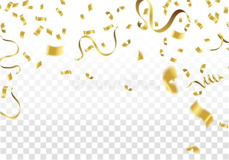 Golden Party Flags With Confetti And Ribbon Falling On White Background. Celebration Event & Birthday. Vector stock illustration