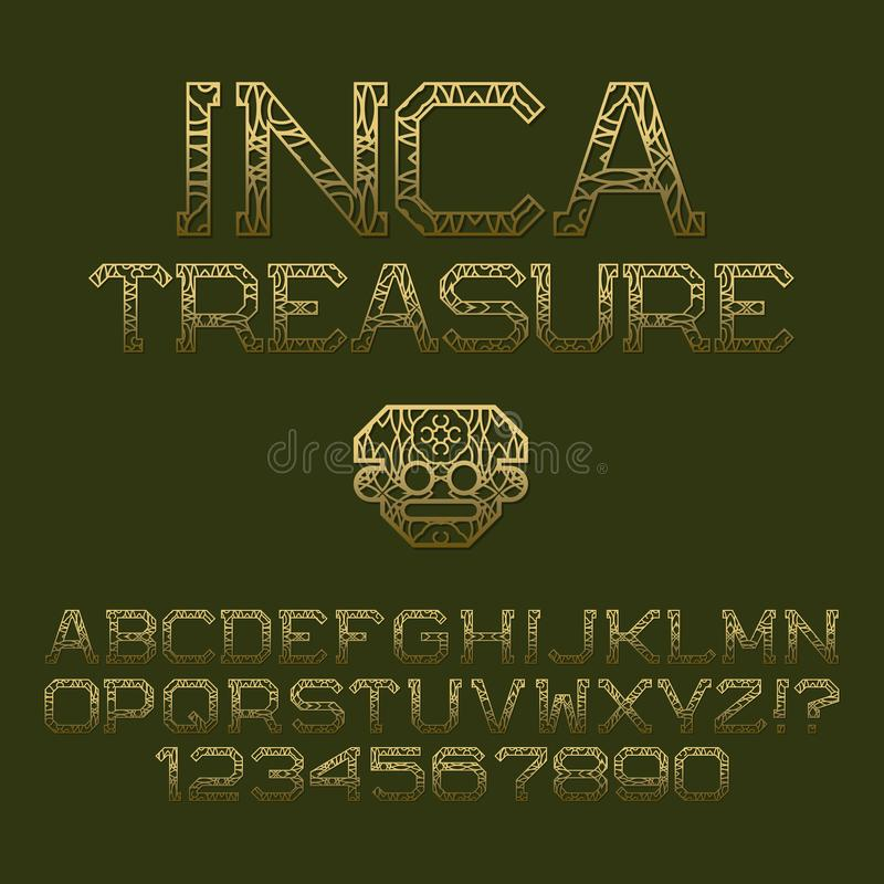 Golden patterned angular letters and numbers. Decorative elegant font. Isolated english alphabet with text Inca Treasure vector illustration