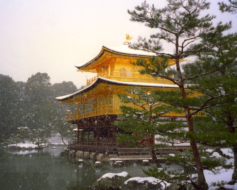 Golden pavilion, japan two stock photography