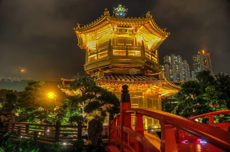 Golden Pavilion of Nan Lian Garden, Hong Kong royalty free stock photo