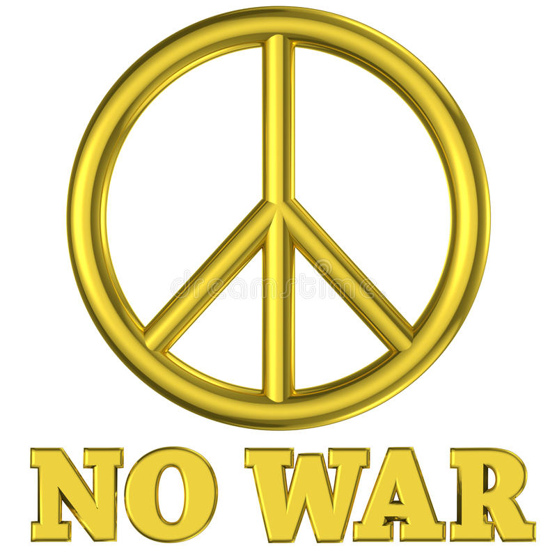 Golden peace sign no war royalty free illustration