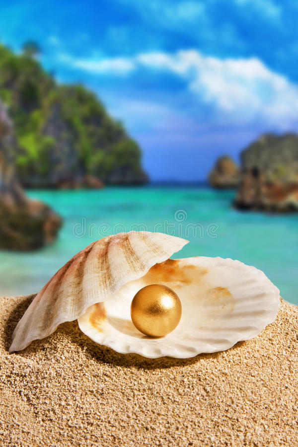 Golden Pearl. On the beach. Philippines stock images