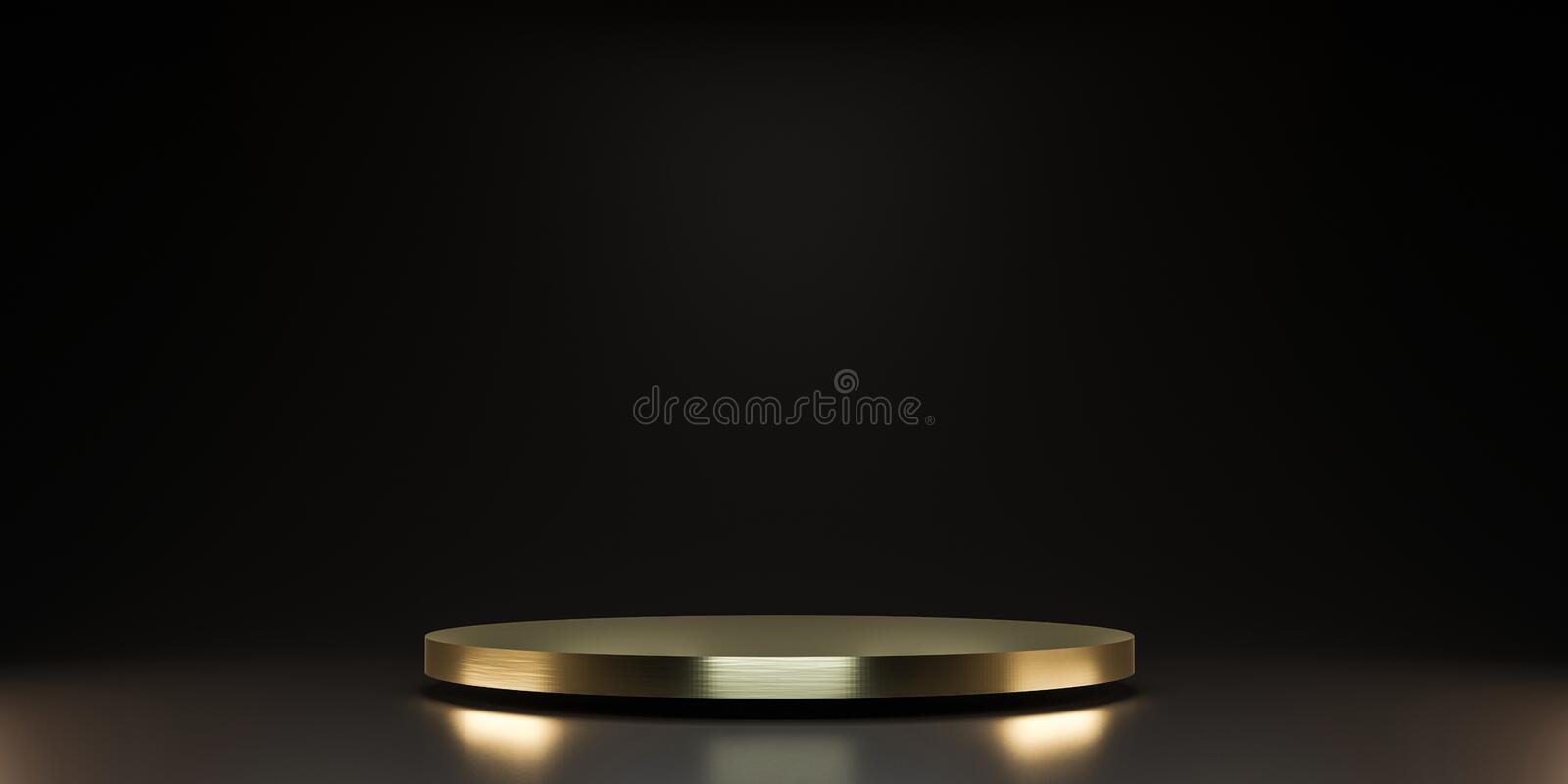 Golden pedestal of platform display with luxury stand podium on dark room background. Blank Exhibition or empty product shelf. 3D stock illustration