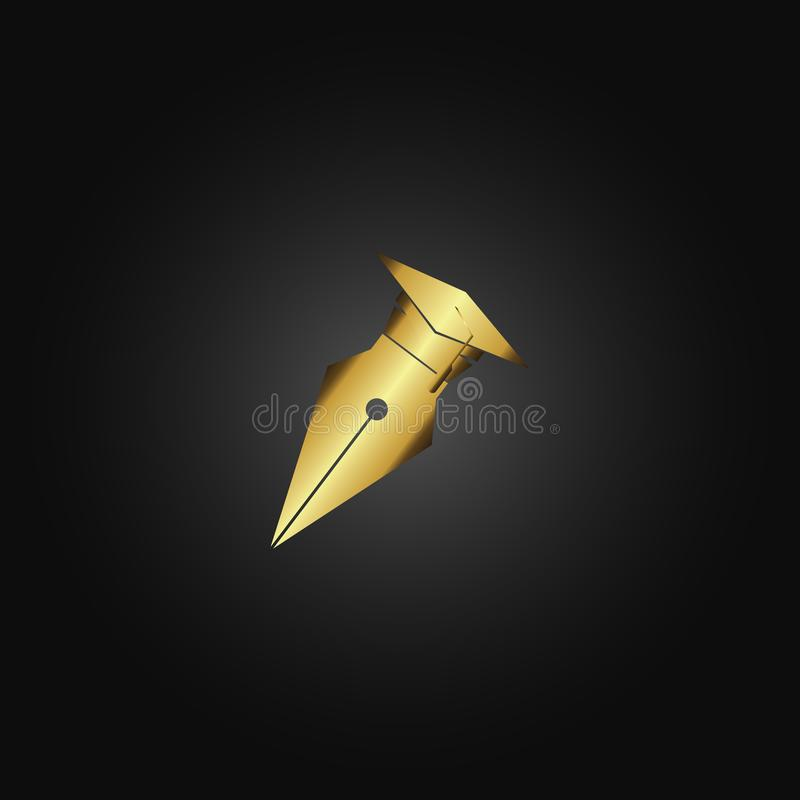 golden pen for educational logos stock illustration
